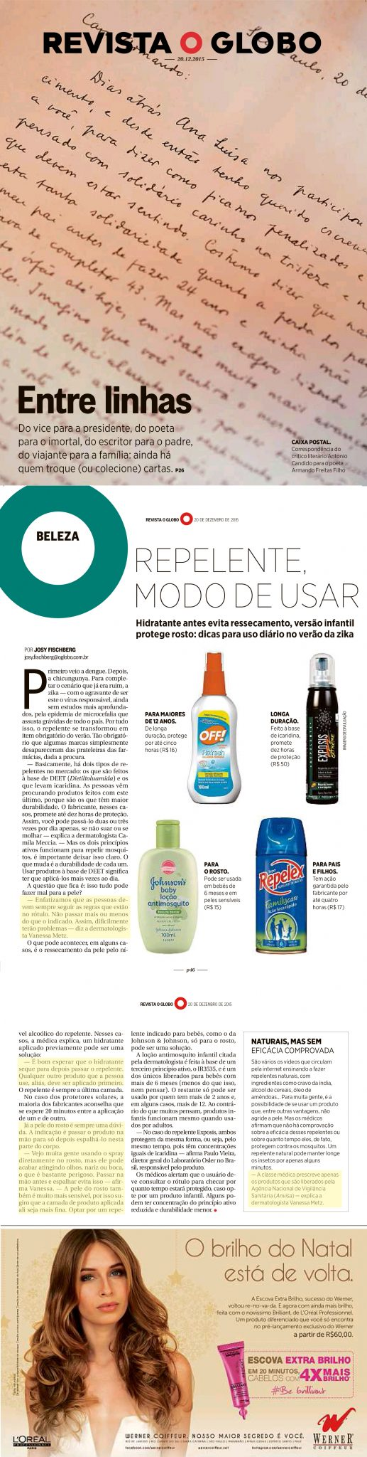 Revista O Globo - 20 de dezembro 2015 - Repelente Modo de Usar