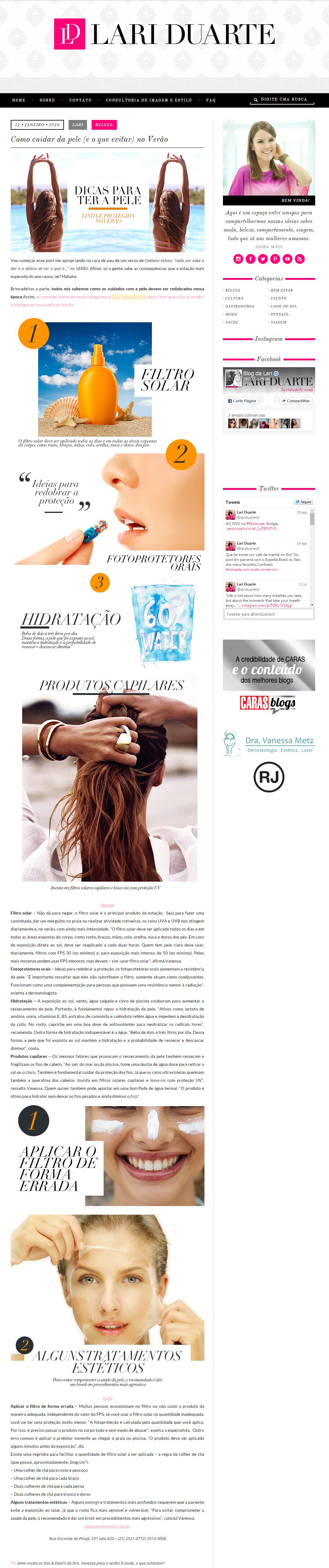 Blog Lari Duarte - 12 de janeiro de 2016 - Como cuidar da pele no verão