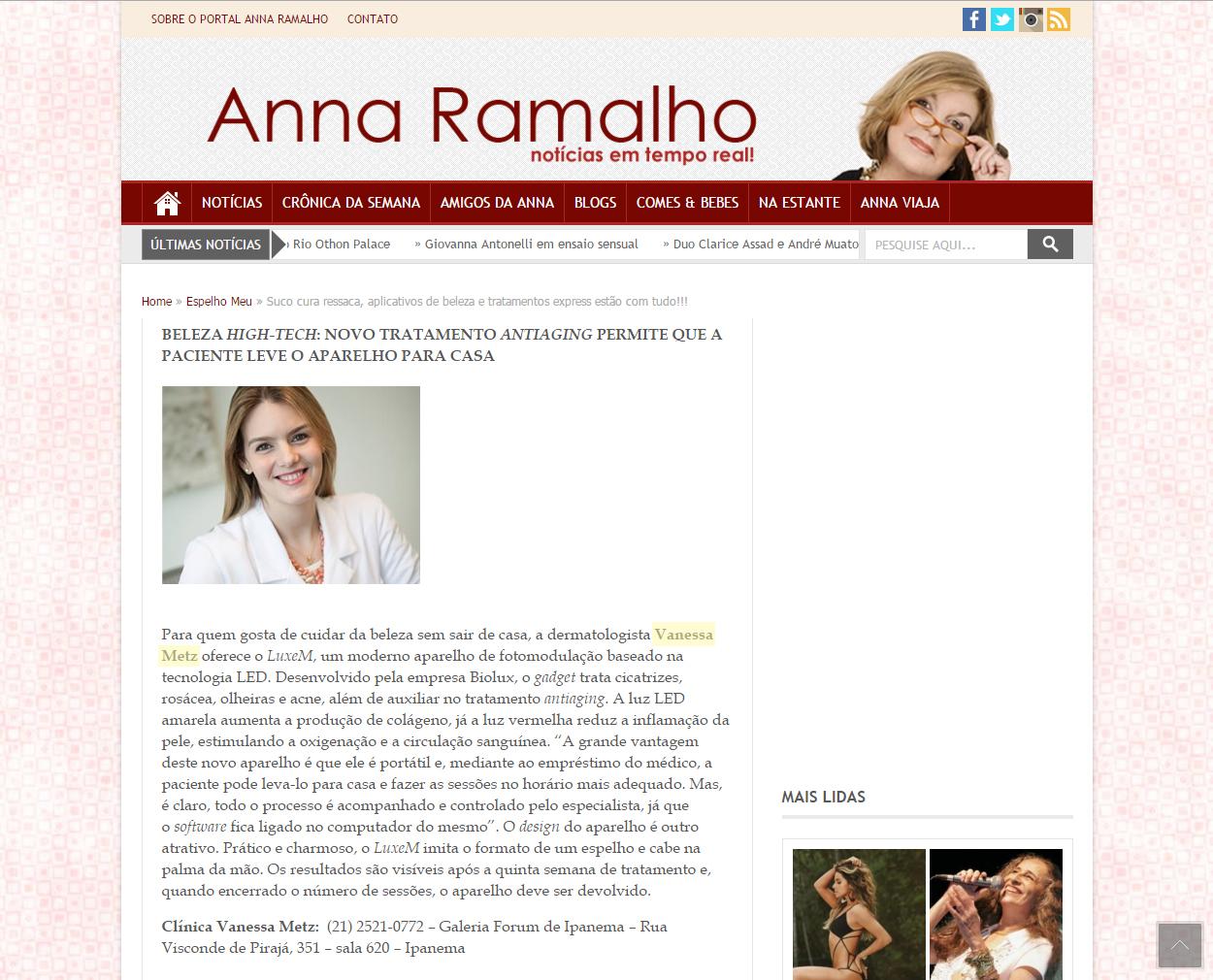 Portal Anna Ramalho - 01 de janeiro de 2016 - Beleza High-Tech