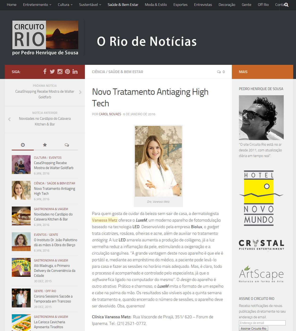 Portal Circuito Rio - 06 de janeiro de 2016 - Novo tratamento antiaging high-tech
