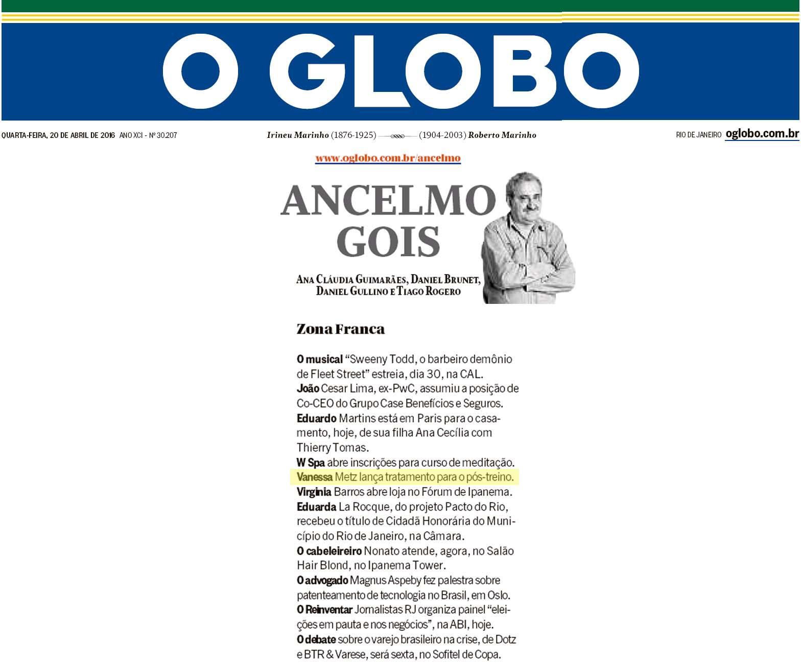 O Globo - Ancelmo Gois - 20.04.16