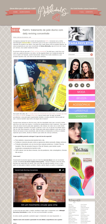 Blog F-Utilidades - 14 de junho de 2016 - Tratamento de pele diurno com daily reviving concentrate