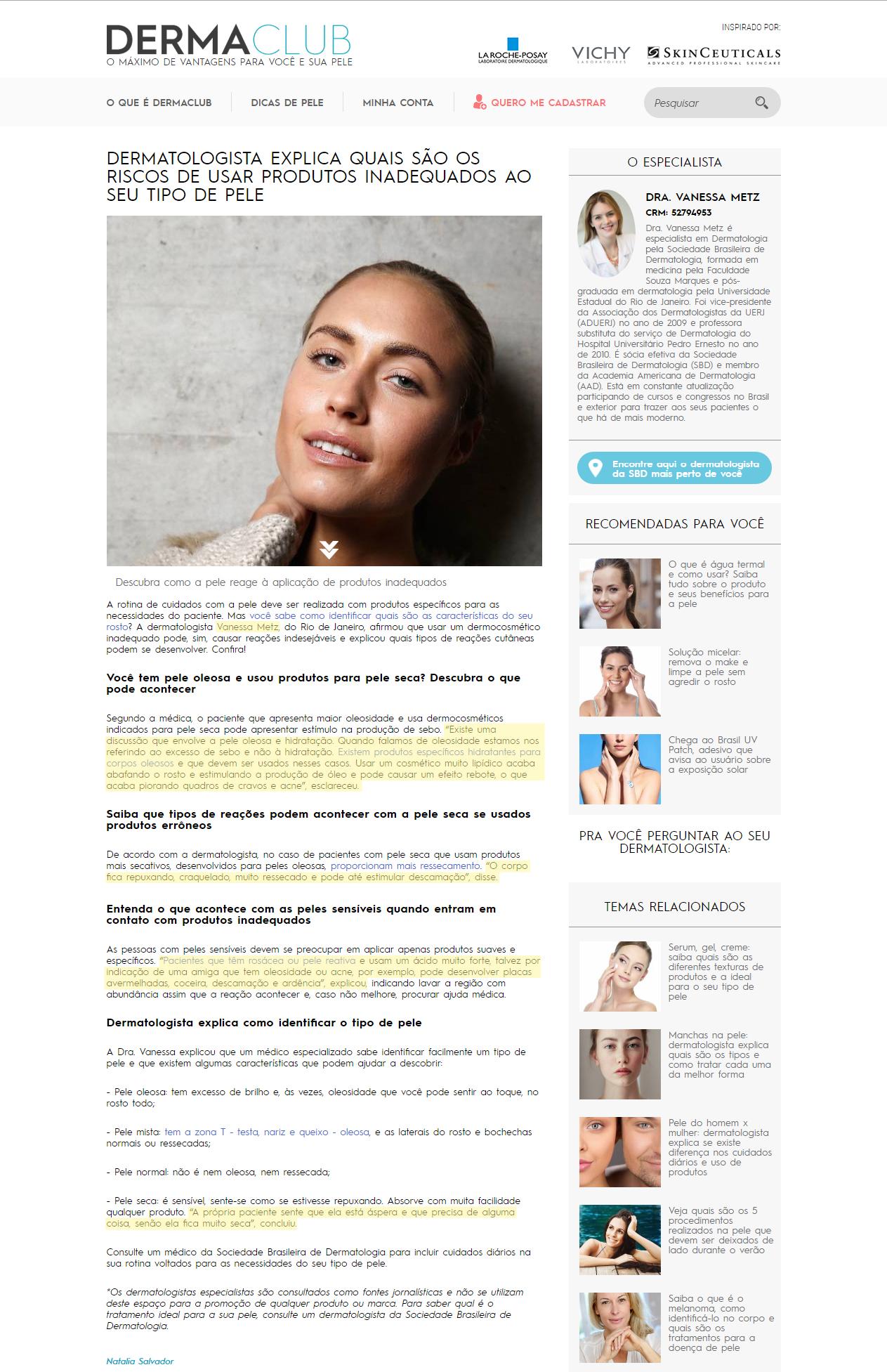 Site Dermaclub - junho - Dermatologista explica quais são os riscos de usar produtos inadequados ao seu tipo de pele